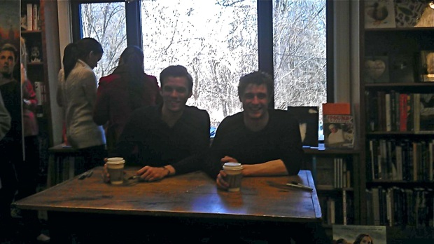 Apologies for the bad quality. I blame the adorable smiles! (That's costar Jake Abel to his right.)